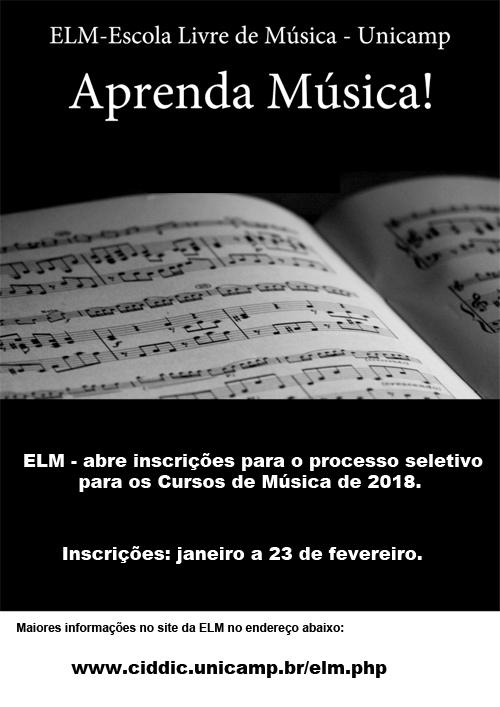 Cartaz processo seletivo para os Cursos de Música da ELM 2018