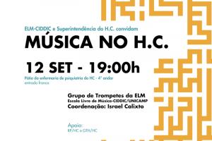 Apresentação do programa Música no H.C com o Grupo de Trompetes da ELM no pátio da enfermaria de psiquiatria