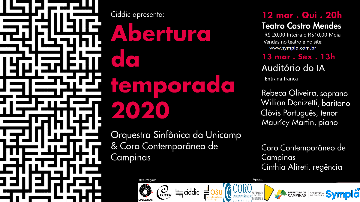 Cartaz da abertura da temporada 2020 da OSU com o COro contemporâneo de campinas