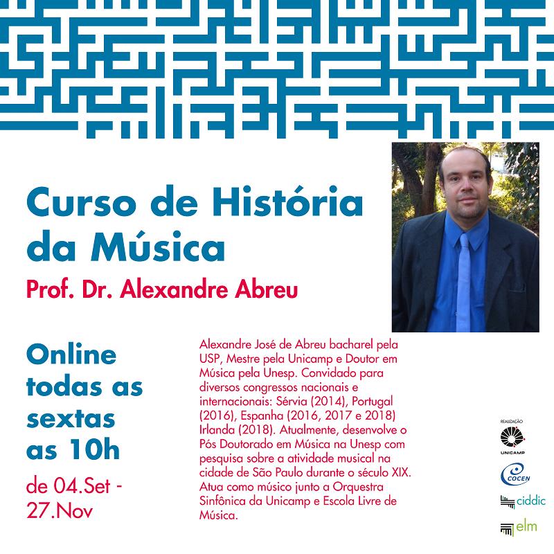 Cartaz de divulgação do curso de História da Música da ELM